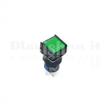 Pulsante luminoso Verde quadrato AL6-M