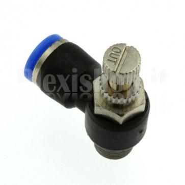 """Regolatore di flusso con innesto rapido per tubo 6 mm e G1/8"""""""