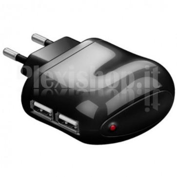 Trasformatore da Rete Italiana a 2p USB 2,1 A Nero
