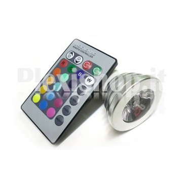Lampada Faretto MR16 RGB 3W + Telecomando
