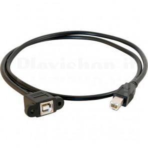 Cable USB 2.0 B Male / B female panel mount