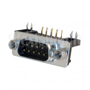 Connettore DR9 a 90° da circuito stampato, maschio