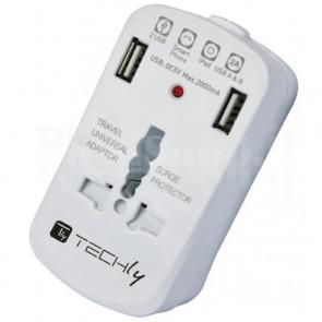 Adattatore Universale da Viaggio da 2A per Prese Elettriche 2 USB