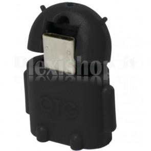 Adattatore USB 2.0 OTG MicroB M / A F per Smartphone/Tablet Nero
