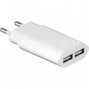 Alimentatore da Rete Italiana 2 USB 2.1A Bianco