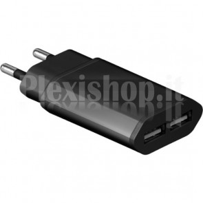 Alimentatore da Rete Italiana 2 USB 2.1A Nero