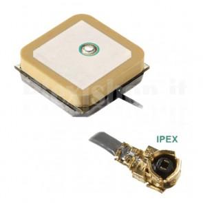 Antenna GPS attiva in ceramica con connettore IPEX, 12 x 12 x 6.5 mm