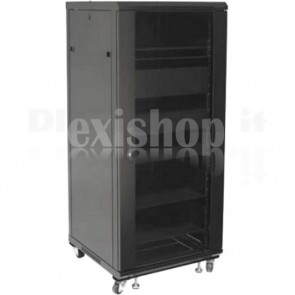 Armadio Rack 19'' 600x600 27U per Audio Video Nero