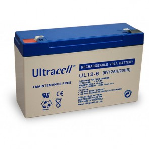Batteria Ricaricabile 6V 12Ah, Ultracell UL12-6 (Faston 187 - 4.8 mm)