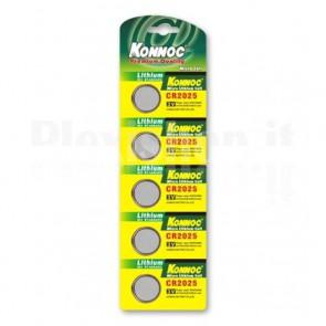 Batterie a bottone Litio CR2025 (set 5 pz)