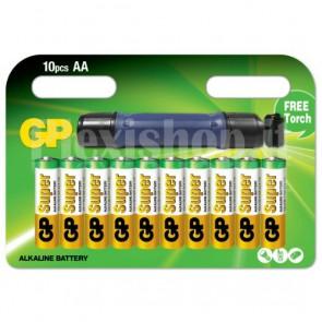 Blister 10 Batterie Alcaline AA Stilo GP con Torcia
