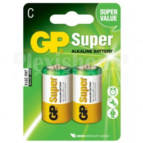 Blister 2 Batterie Mezza Torcia C GP Super