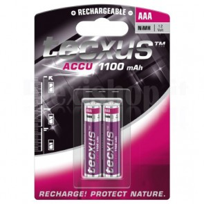 Blister 2 Batterie Ricaricabili AAA Mini Stilo HR03 1100mAh