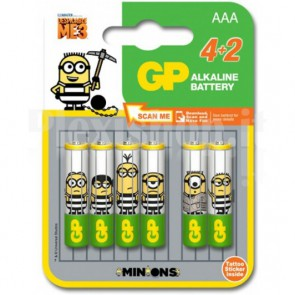 Blister 4+2 Batterie Alcaline AAA MiniStilo GP Minions