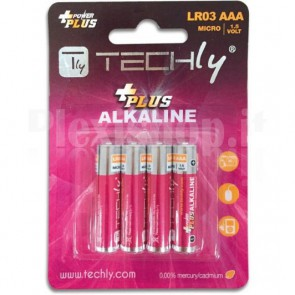 Blister 4 Batterie Power Plus Mini Stilo AAA Alcaline LR03 1.5V