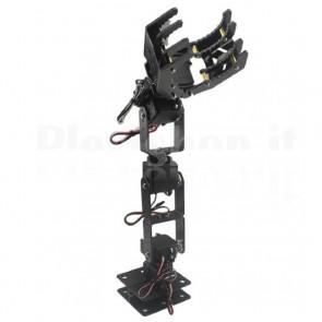 Braccio meccanico robotizzato con pinza a sei gradi di libertà