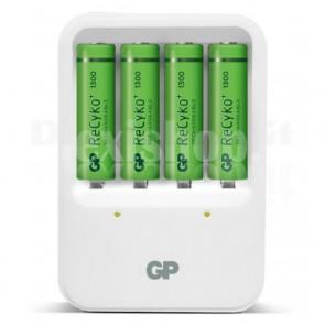 Caricabatterie 4 AA/AAA con 4 batterie AA 1300mAh USB bianco