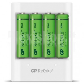 Caricabatterie 4 AA/AAA con 4 batterie AA 2000mAh USB bianco