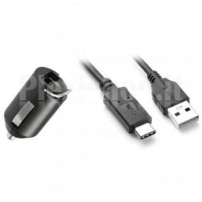 Caricabatterie da Auto 1p USB 5V / 2.1A con Cavo USB-C 3.0 Nero