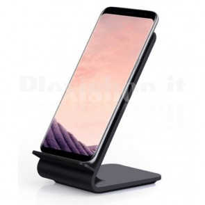 Caricabatterie Wireless Fast Qi Stand Verticale 10W Nero