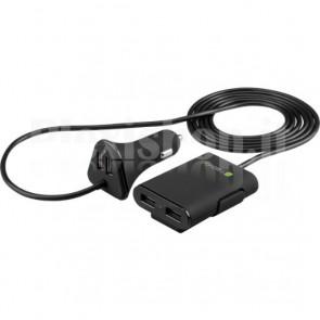 Caricatore da Auto 2 USB + 2 USB per Passeggeri Posteriori 9.6A Nero