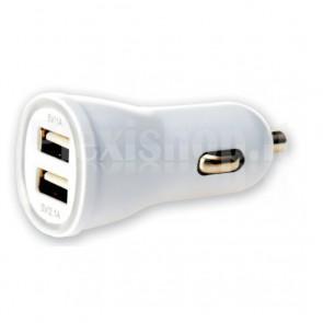 Caricatore da Auto 2p USB 5V 1A&2.1A Bianco