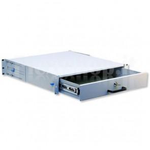 Cassetto Porta Tastiera 2U per Armadi Rack 19'' con Serratura Grigio