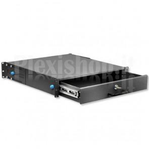 Cassetto Porta Tastiera 2U per Armadi Rack 19'' con Serratura Nero