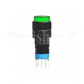 Dual commutator DPDT panel mount switch with 220Vac LED Green