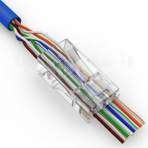 Connettore plug RJ45 cat5/5e 8 poli rapido