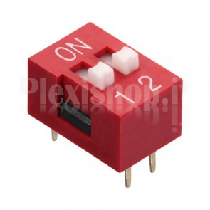 DIP-switch rosso con 2 interruttori indipendenti