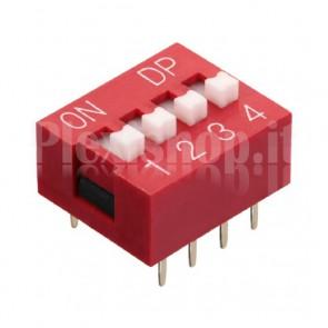 DIP-switch rosso con 4 interruttori indipendenti
