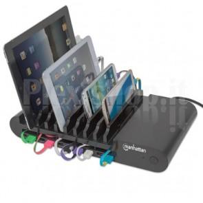 Docking Station 10 Porte USB Ricarica Smartphone e Tablet, Nero
