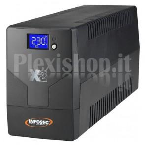 Gruppo di Continuità UPS X2 1000VA 2 Prese Schuko con LCD Nero
