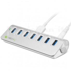 Hub USB 3.0 Super Speed 7 Porte con Alimentatore, in Alluminio