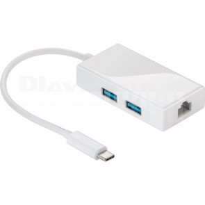 Hub USB-C SuperSpeed 2 Porte USB3.0 A Femmina Bianco