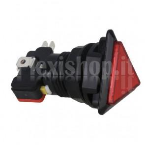 Pulsante triangolare luminoso con LED rosso, 28mm 12V 3A