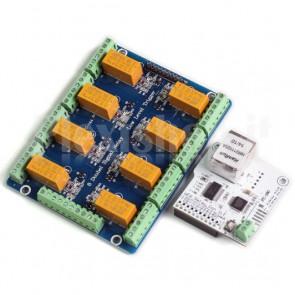Interfaccia 8 relè DPDT controllo LAN, 5VDC