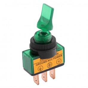 Interruttore luminoso a 12V con leva corta di colore verde