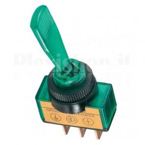 Interruttore luminoso a 12V con leva lunga di colore verde