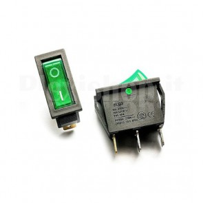 Interruttore Rocker SPST Verde Luminoso 21x15 mm, ON-OFF