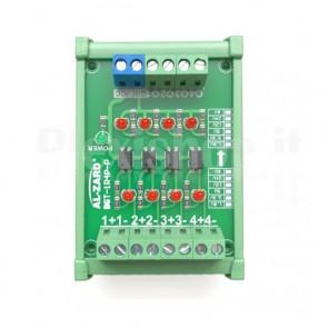 Isolatore a foto-accoppiatori per automazione, 4 canali, input 5V, output 5V