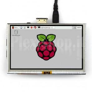"LCD TFT touchscreen 5"" HDMI per Raspberry Pi"