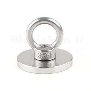 Magnete circolare al neodimio con relativo occhiello, diametro 40mm