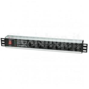 Multipresa 6 Posti Rack 19'' con Protezione e Interruttore