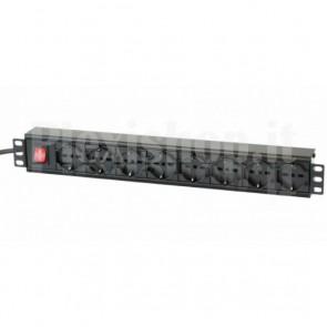 Multipresa per Rack 19'' 8 posti universali con interruttore