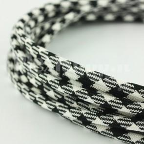 Cavo rivestito in tessuto - Spigato Bianco/Nero