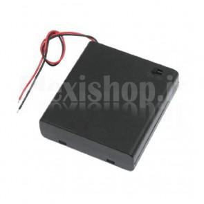 Portabatteria con interruttore per 4 batterie di tipo AA