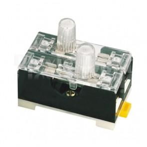 Portafusibile doppio da slitta DIN con indicatore luminoso, per fusibili 5x20