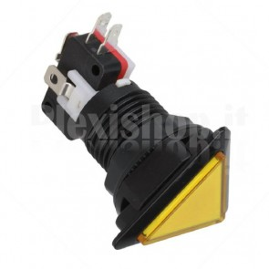 Pulsante triangolare luminoso con LED giallo, 28mm 12V 3A